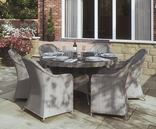 4 seater Round Dining Set (Dark Grey/Beige)
