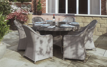 4 seater Round Dining Set (Pale Grey/Teal)