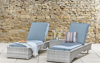 Sunlounger Set (Dark Grey/Beige)