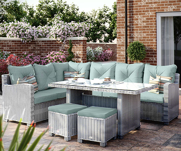 Corner Casual Dining Set (Pale Grey/Teal)