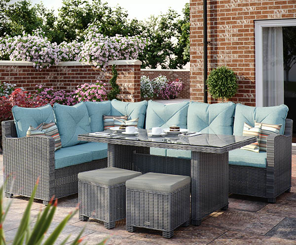 Corner Casual Dining Set (Dark Grey/Teal)