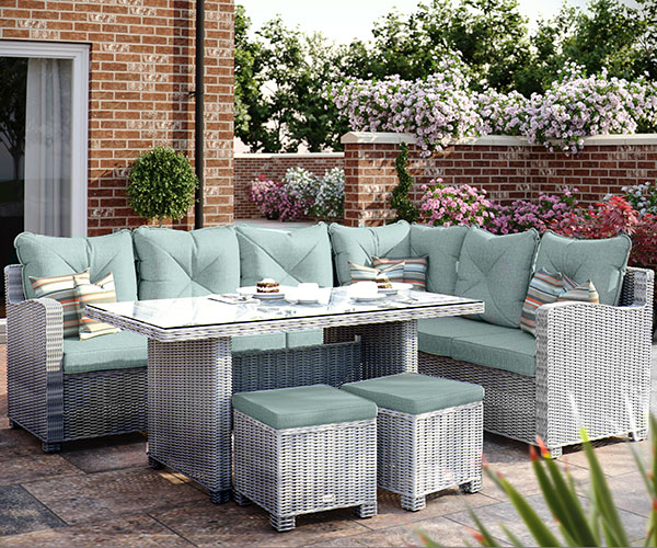 Corner Casual Dining Set (Pale Grey/Teal) Right Arm Facing