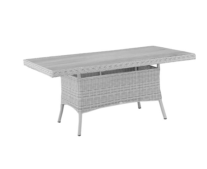 Santorini Rectangular Dining Table - Glass Top Table Top